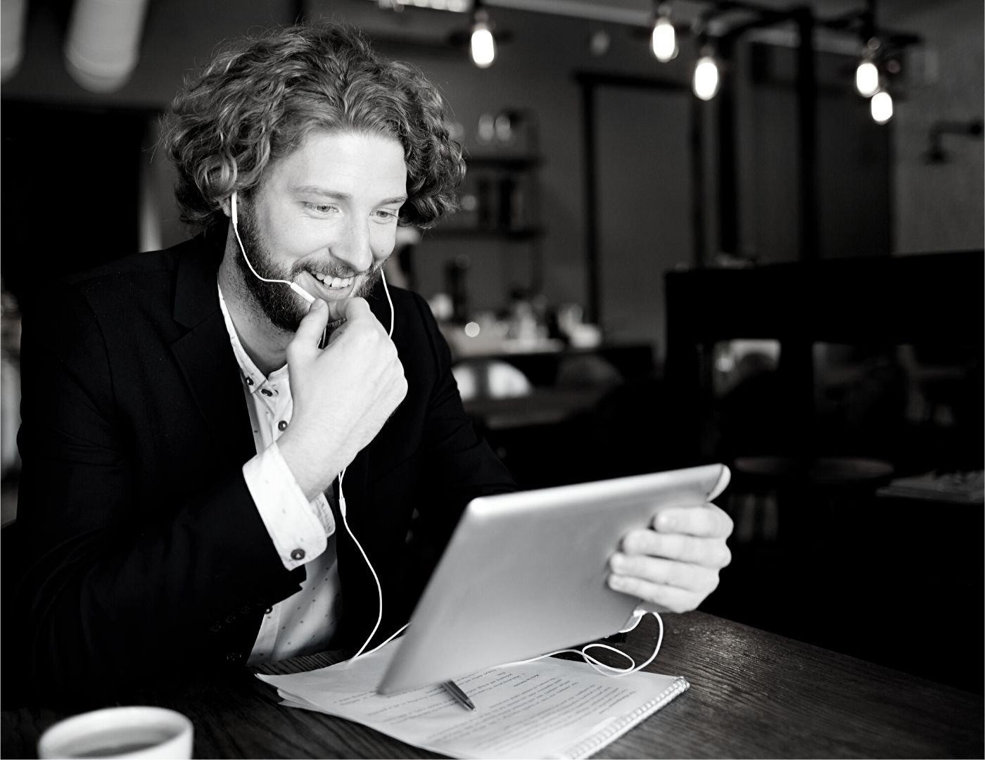 Man Talking Online